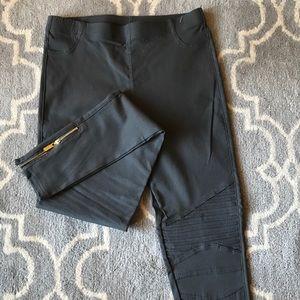 Gray Moto Biker Pants